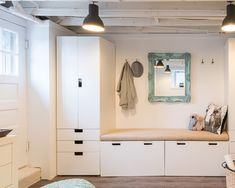 Appealing Ikea Storage Ideas Stand on Simple Room: Eclectic Entry White Cupboard With Bench And Wall Mirror Also Pendant Lamp Ikea Storage Ideas