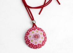 Ketten lang -  Blühende Polymer Clay Designer Kette, millefiori - ein Designerstück von filigran-Design bei DaWanda