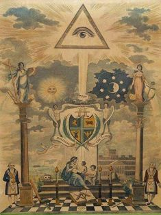 Freemasonry - in the press and under the hammer.: Masonic engraving from 1798 for sale Shemuel Bensusan Occult Symbols, Masonic Symbols, Occult Art, Illuminati Symbols, Illuminati Secrets, Rose Croix, Masonic Art, Masonic Temple, 7 Arts