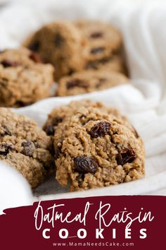 These homemade oatmeal raisin cookies are thick, chewy, and easy to make. These cookies have a soft and chewy center and are crisp around the edges. #oatmealcookies #cookies #softandchewycookies #thanksgiving #christmascookies #cookieplatter #chewycookies #raisins #oatmealraisincookies #holidaybaking
