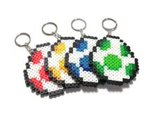 Super Mario World Yoshi Egg Keychain// mario party favors // perler bead sprite art // video game fan art