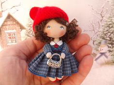 Sister birthday gift fabric dollhouse miniature doll small