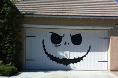 Jack Skellington - Nightmare Before Christmas Style - Huge Garage Decal - Halloween Decorations - Vinyl Wall Art - Huge 80 x 100 inches. I wonder how my Homeowners Assoc. would like this on our garage doors? Spooky Halloween, Deco Porte Halloween, Outdoor Halloween, Holidays Halloween, Halloween Crafts, Happy Halloween, Halloween Party, Garage Door Halloween Decor, Halloween Design