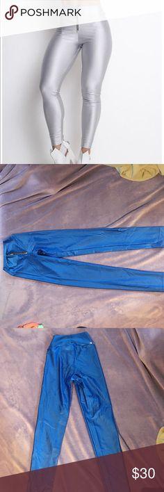 Labellamafia zipper leggings blue Like new, high waisted leggings labellamafia Pants Leggings