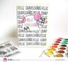 Cómo hacer una tarjeta de cumpleaños con #sellos scrapbook silicona de Anita y su mundo
