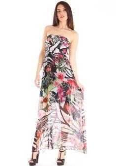 Vestito lungo elegante in georgette fantasia floreale spalle scoperte http://www.luanaromizi.com/it/vestiti-donna/vestito-lungo-elegante-in-georgette-fantasia-floreale-spalle-scoperte.html