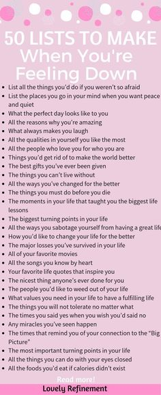 50 Lists to Make When You're Feeling Down