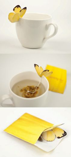 Vlinder thee zakjes  Butterfly teabags.. So cute!
