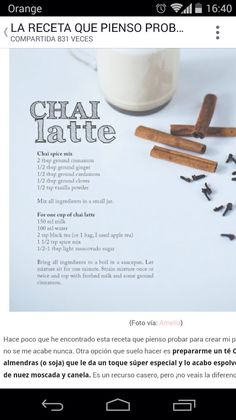 Chai Tea Latte Tea Latte, Ground Cinnamon, Wine Making, Chai, Food Hacks, Wines, Vanilla, Healthy Recipes, Thinking About You