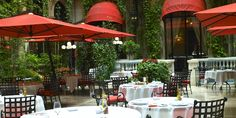 La Cour Jardin outdoor dining at Plaza Athenee in Paris, France. delightful and love the fish. lunch + dinner served.
