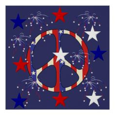 ☮ American Hippie Art ~ July 4th Peace Sign