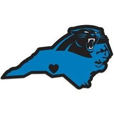 It's a home state decal with a sporty twist! This Carolina Panthers decal feature the team logo over a silhouette of the state in team colors and a heart marking the home of the team. The decal is approximately 5 inches on repositionable vinyl. Carolina Panthers Football, Nfl Football, Silhouette Clip Art, Carolina Blue, Carolina Pride, Pittsburgh Steelers, Dallas Cowboys, Team Logo, Vinyl Decals