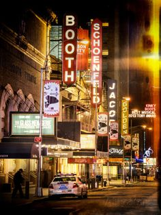 Instants of NY Series - The Booth Theatre at Broadway - Urban Street Scene by Night with a NYPD Photographic Print by Philippe Hugonnard - at AllPosters.com.au