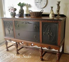 Walnut And Black - Buffet - Sideboard Makeover By Porta Verde Studio - Featured On Furniture Flippin'