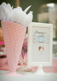Primary Ice Cream Social (Get the Scoop on your Teacher Party Ice cream party Party Cooler, Sundae Party, Ice Cream Theme, Ice Cream Party Decor, Ice Cream Decorations, Table Decorations, Teacher Party, Ice Cream Design, Party Fiesta