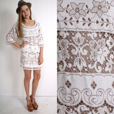 Vintage 1960s White Lace Mini Dress with Bell Sleeves. Adorable.