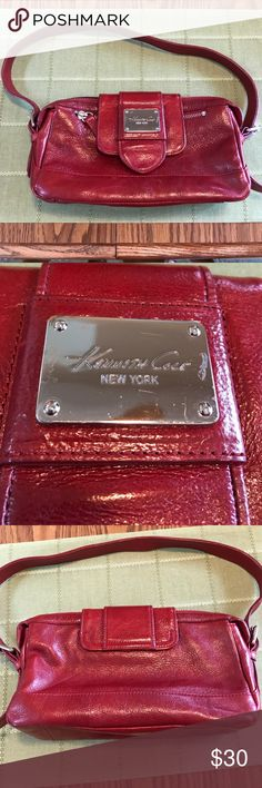 Red Kenneth Cole New York purse genuine leather Red leather Kenneth Cole handbag. Leather does have some slight scuffs and wrinkles, nameplate also has a few scuffs, but otherwise shows little wear. Measures 10x6x3. Any questions please ask Kenneth Cole New York Bags