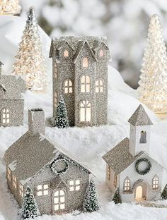 German Glitter Village benefiting Give a Little Hope Campaign/Pottery Barn Silver Christmas, Noel Christmas, Christmas Colors, Christmas Projects, Vintage Christmas, Christmas Ornaments, Putz Houses, Village Houses, 242
