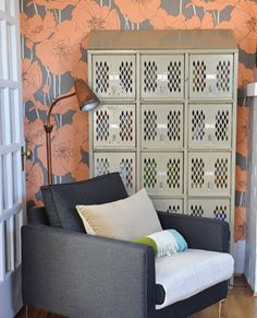 5. Living Room Add a hint of industrial style into your living room with metal lockers. Ideal for loft living and small spaces, tall lockers maximize space, while creating extra room for seating.  Place a set of three tall or cubby lockers in a back corner (left), or front and center next to an entertainment center.