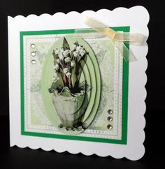 Vintage Lilies of the Valley on Craftsuprint designed by Bodil Lundahl - made by Ulla Skraedderdal - First I printed on a good quality of paper, and cut all items out. Layered with 3D pads onto scalloped card and finish it with gems. Very beautiful sheet. - Now available for download!