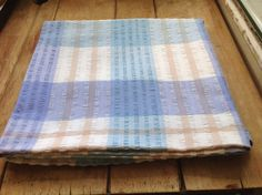 Vintage 1960's Seersucker Table Cloth in Blues by Onmykitchentable, £18.00