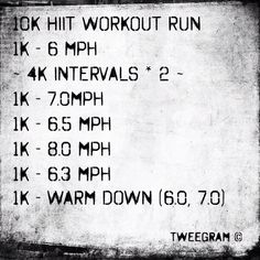 My Saturday HIIT - (interval training) workout run!! Perfect to get those summer legs sexy and ready for all those short shorts :D.   The mph there are jus what i use for now, but feel free to go at whatever pace is comfortable jus take note of the intervals fast vs slow k ...also I like to speed up in the final .5 k of the warm down - jus to finish up on the running high :) also trains that power running and really boosts te postworkout metabolism. Keep u bringing that energy long after…