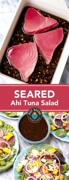 The seared tuna is so flavorful with the tangy and salty marinade made of ginger garlic soy sauce and fresh lemon and lime juice. The tuna combined with avocado mango and cucumber drizzled with the leftover marinade is a mouth-watering and very satis Seafood Dishes, Seafood Recipes, Drink Recipes, Salad Recipes, Ahi Tuna Steak Recipe, Tuna Steak Marinades, Seared Ahi Tuna Salad Recipe, Ahi Tuna Recipe Healthy, Hardboiled