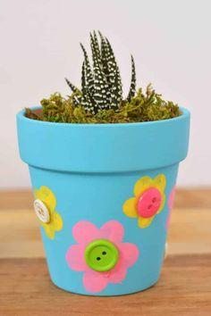 Flower Pot Art, Flower Pot Design, Flower Pot Crafts, Clay Pot Crafts, Clay Pot Projects, Clay Flower Pots, Clay Pots, Mothers Day Flower Pot, Mothers Day Crafts For Kids