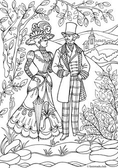Just a couple of fashionista on a date. Their trendy costumes perfectly demonstrate the fashion and style of the Victorian period.