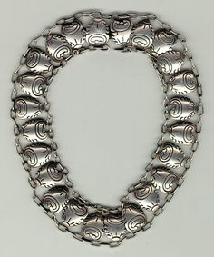 Necklace~TAXCO, Mexico | Hector Aguilar.  Sterling silver.  ca. 1950