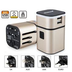 모든 하나의 보편적 인 국제 플러그 어댑터 2 USB 포트 세계 여행 AC 전원 충전기 어댑터 AU 미국 영국 EU 플러그
