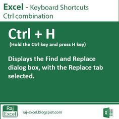 Raj Excel: Excel Shortcut Keys:  Ctrl + H (Find and Replace)