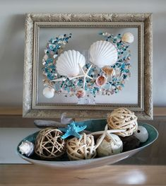 Shell and sea glass art and paint by Shersbeachycreations on Etsy Seashell Art, Seashell Crafts, Beach Crafts, Window Frame Crafts, Window Art, Beach Themed Art, Beach Art, Sea Glass Crafts, Sea Glass Art