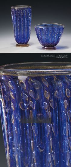 Hand-blown Venetian glass vases with clear and gold Murano glass; Venetian glass vases are hand-crafted in Murano Island, Italy