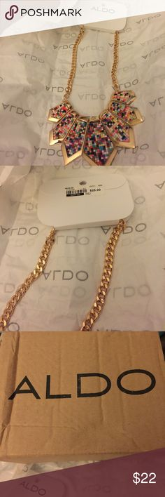 Aldo multi color necklace Beautiful Aldo necklace. Just enough color to blend with anything. Original packaging and tags. Very stylish Aldo Jewelry Necklaces