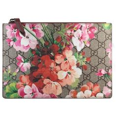 Women's Gucci Small Gg Blooms Canvas & Leather Pouch (21.360 RUB) ❤ liked on Polyvore featuring bags, handbags, red purse, leather purses, canvas pouch, genuine leather handbags and leather handbags