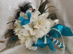 Wedding Bouquet Peacock Feather