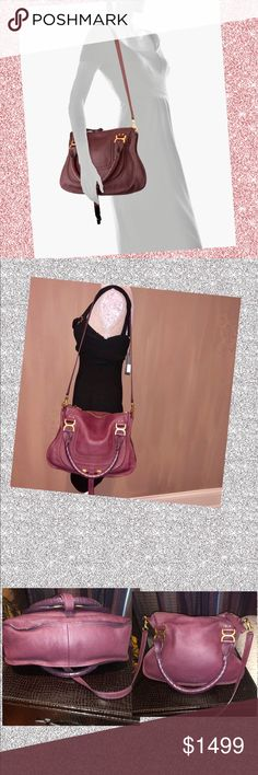 Chloe Marcie Medium Leather Satchel Bag Chloe calf leather satchel bag with  golden hardware. Wrapped d280ee567c
