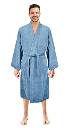 78a1da0e24 Turkish Linen Men s Waffle Kimono Robes Spa Bathrobe Made in Turkey ...