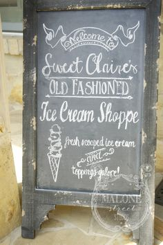 Malone Street Studios – a vintage inspired ice cream social - chalkboard sign