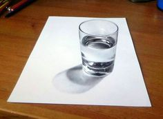 3D Glass of Water Illustration