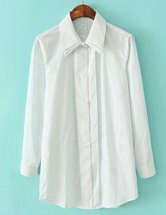 White Double Layers Lapel Long Sleeve Blouse EUR€22.57