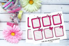 Pink Red List Planner Stickers Cute Bow To by ForAllSeasonsDesigns