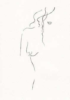 Minimalist drawing. Nude figure illustration. 8.3 x door siret
