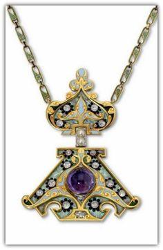 Lalique 1900 Russian influence Pendant: gem set enamel/ gold