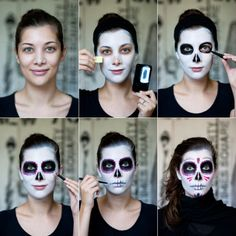 step by step sugar skull face painting | ... – The traditional Mexican sugar skull inspired look in six steps