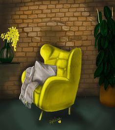 sólo pepistika: Tendencia Mostaza. Chair, Furniture, Home Decor, Digital Illustration, Trends, Illustrations, Decoration Home, Room Decor, Home Furniture