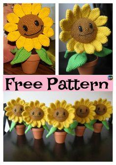 Happy Crochet Amigurumi Sunflower – Free Pattern #freecrochetpatterns #flowers #crochetflower