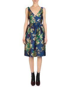 Erdem Dora Floral Jacquard V-Neck Dress