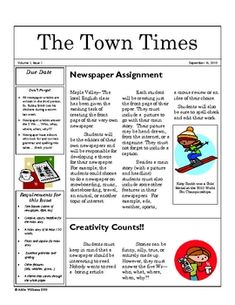 Expository Writing - Students Create a Themed Newspaper. Each article is an expository practice: girl/boy sports, feature: a funny thing happened, gossip column, school news event, food critique on cafeteria food Expository Writing, Informational Writing, Teaching Writing, Teaching Ideas, Teaching Materials, Writing Resources, Writing Activities, Writing Ideas, Secondary Resources
